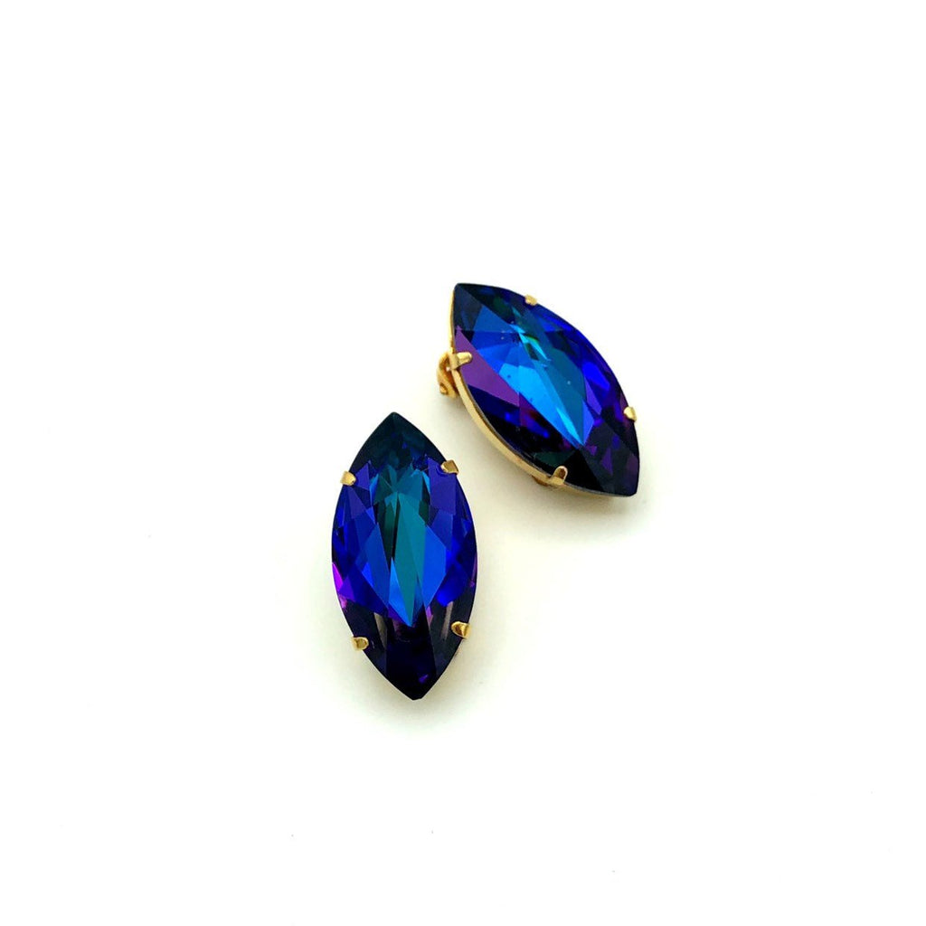Austria Blue Rivoli Marquise Rhinestone Vintage Earrings