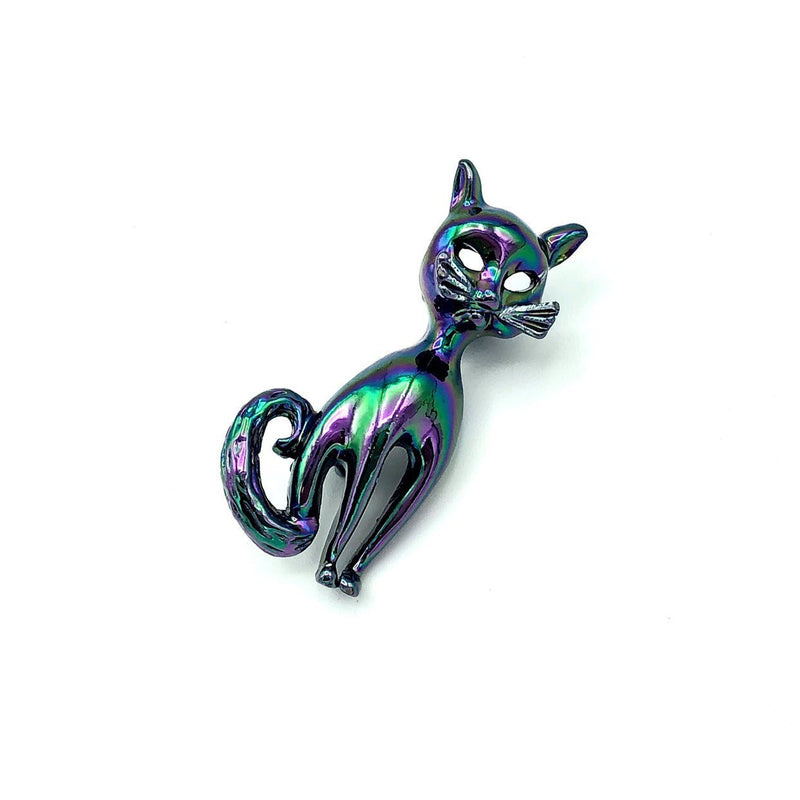 Siamese Cat Purple Iridescent Vintage Brooch-Sustainable Fashion with Vintage Style-Trending Designer Fashion-24 Wishes