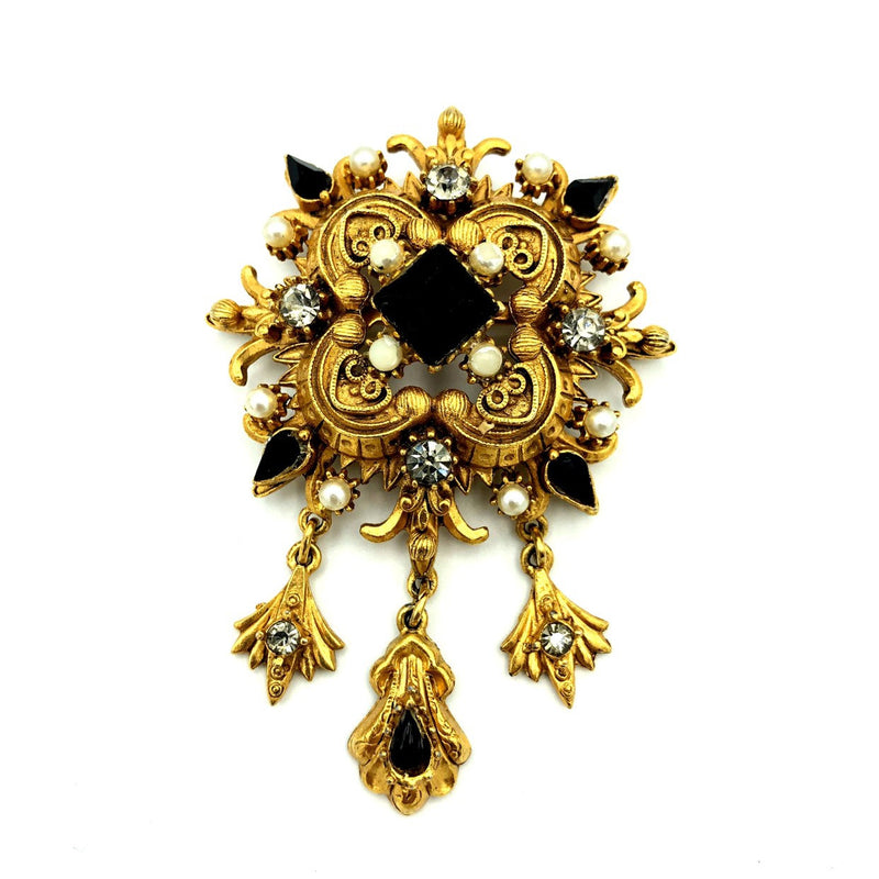 Florenza Black & Gold Victorian Revival Vintage Brooch-Sustainable Fashion with Vintage Style-Trending Designer Fashion-24 Wishes