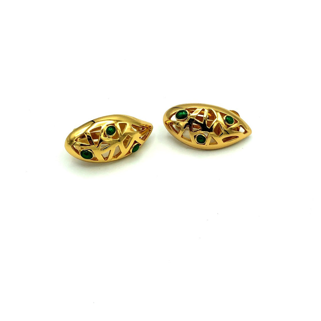 Christian Dior Gold Abstract Vintage Earrings
