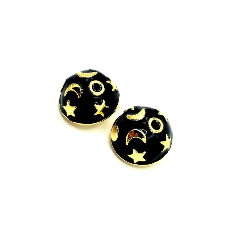 Gold Kenneth Jay Lane Moon Stars Celestial Earrings