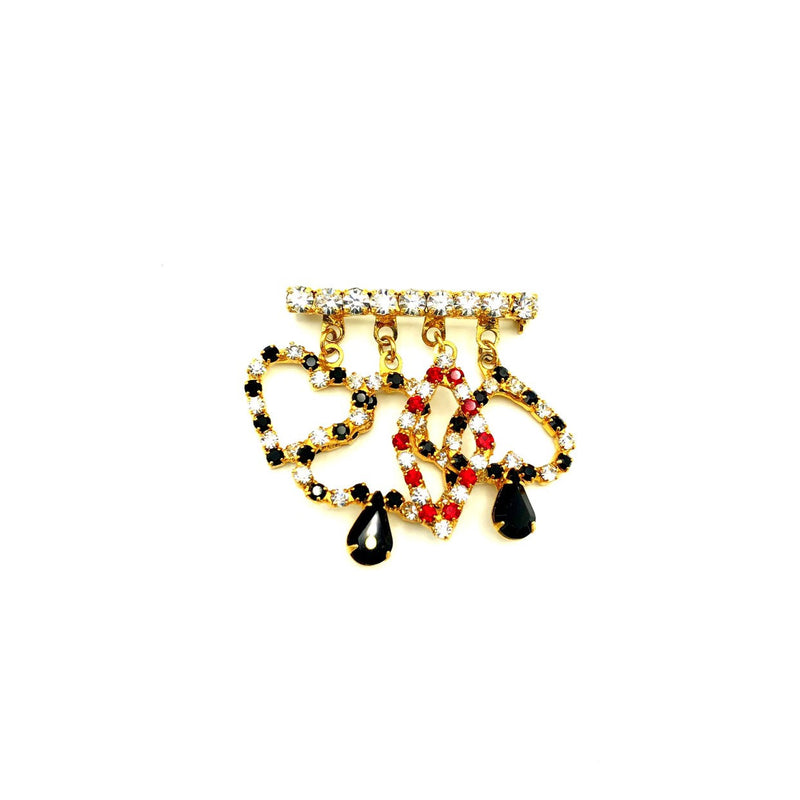 Vintage Heart Diamond Club Spade Rhinestone Brooch-Sustainable Fashion with Vintage Style-Trending Designer Fashion-24 Wishes