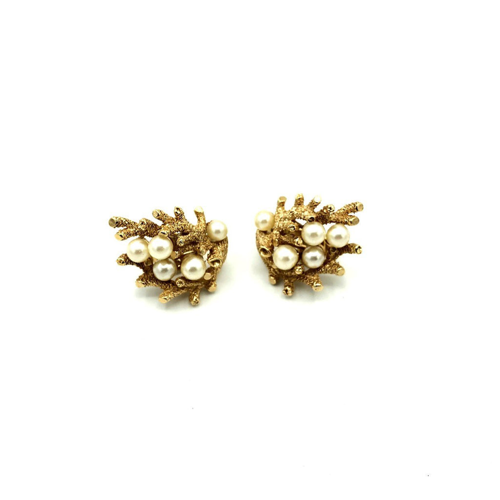 Gold Coral Crown Trifari Pearl Vintage Earrings