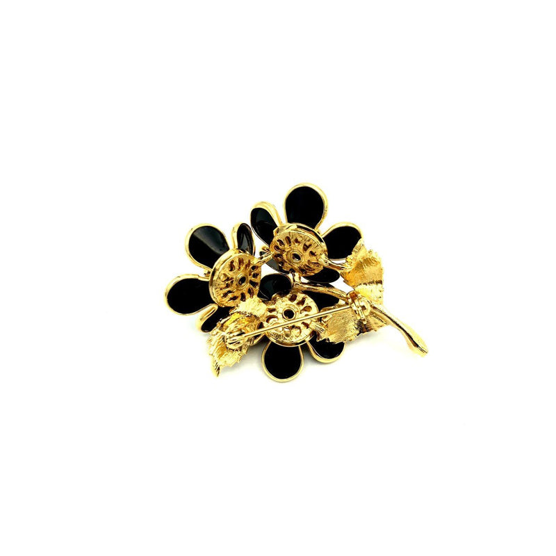 Vintage Black Flower Bouquet Brooch