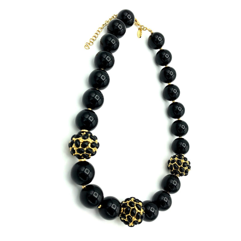 update alt-text with template Kenneth Jay Lane Chunky Black Bead Necklace-Necklaces & Pendants-Kenneth Jay Lane-[trending designer jewelry]-[kenneth jay lane KJL jewelry]-[Sustainable Fashion]
