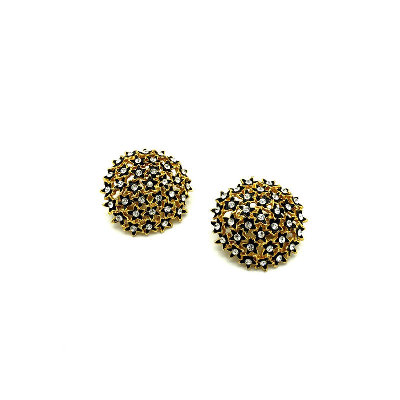 Large Gold Cluster Black Flower Rhinestone Earrings-Sustainable Fashion with Vintage Style-Trending Designer Fashion-24 Wishes