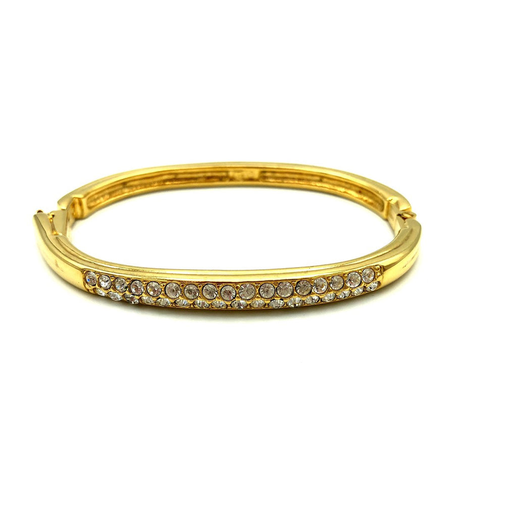 Gold Swarovski White Crystal Hinged Bangle Bracelet