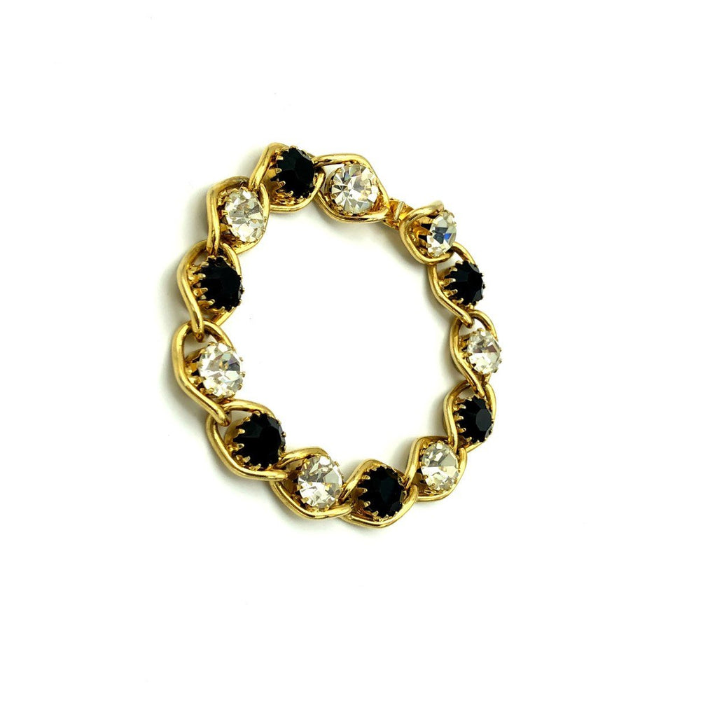 Vintage White & Black Rhinestone Chain Stacking Bracelet