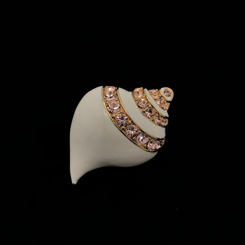 update alt-text with template Kenneth Jay Lane Pink Rhinestone White Rhinestone Vintage Shell Brooch-Brooches & Pins-Kenneth Jay Lane-[trending designer jewelry]-[kenneth jay lane KJL jewelry]-[Sustainable Fashion]