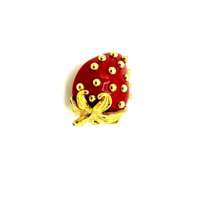 Kenneth Jay Lane Red Lucite Strawberry Vintage Brooch