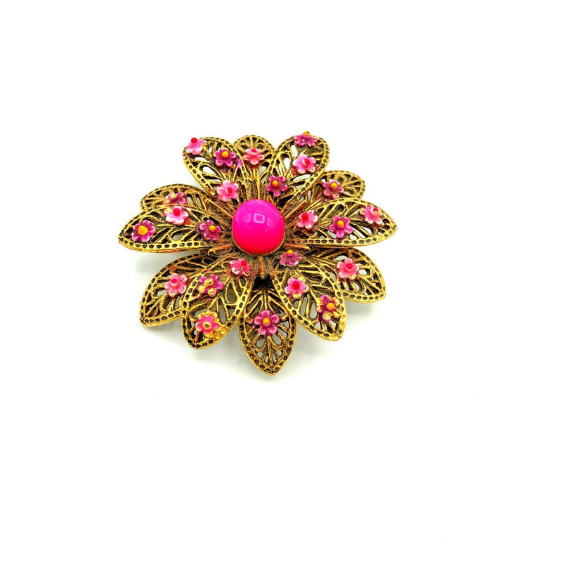 Layered Filigree Pink Enamel Vintage Brooch-Sustainable Fashion with Vintage Style-Trending Designer Fashion-24 Wishes