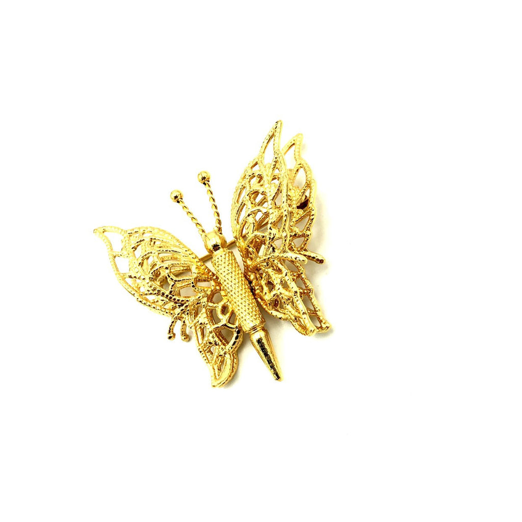 Gold Classic Monet Filigree Style Butterfly Vintage Brooch