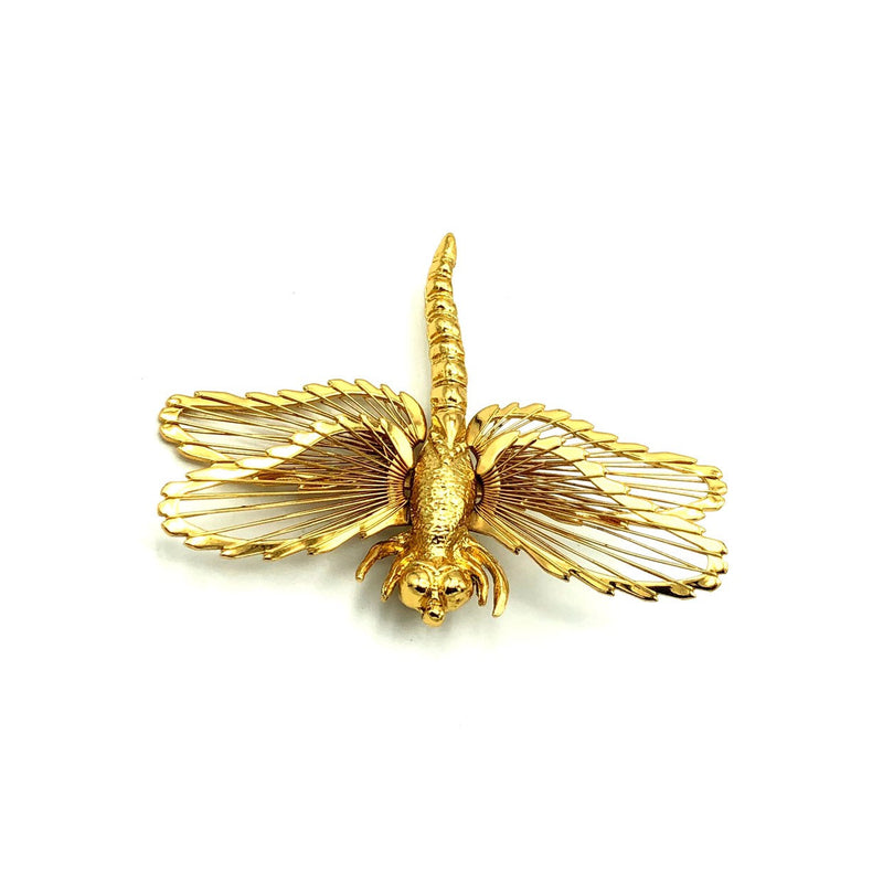 Gold Classic Monet Dragonfly Vintage Brooch