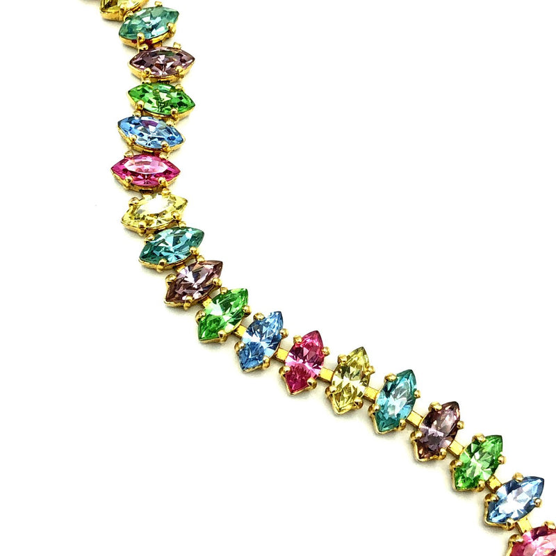 B. David Pastel Marquise Rhinestone Vintage Tennis Bracelet-Sustainable Fashion with Vintage Style-Trending Designer Fashion-24 Wishes