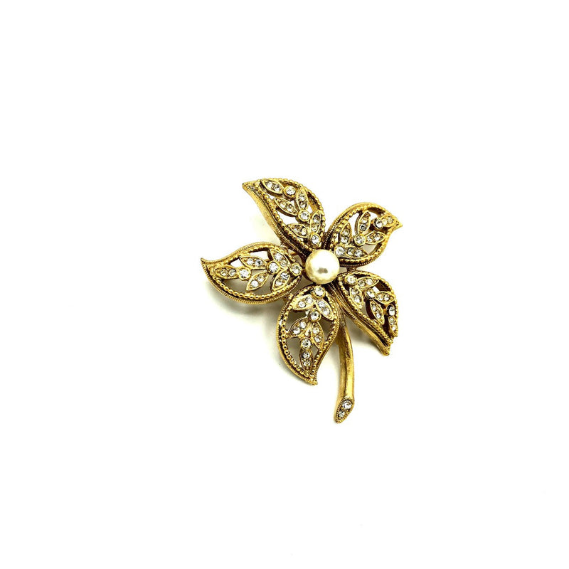 Gold Kramer Pearl & Rhinestones Vintage Flower Brooch-Sustainable Fashion with Vintage Style-Trending Designer Fashion-24 Wishes