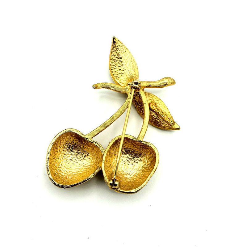 Sarah Coventry Large Gold Vintage Cherry Brooch-Sustainable Fashion with Vintage Style-Trending Designer Fashion-24 Wishes