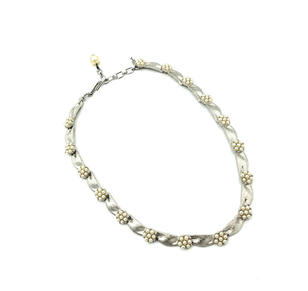 Silver Trifari Ribbon & Pearls Layering Necklace