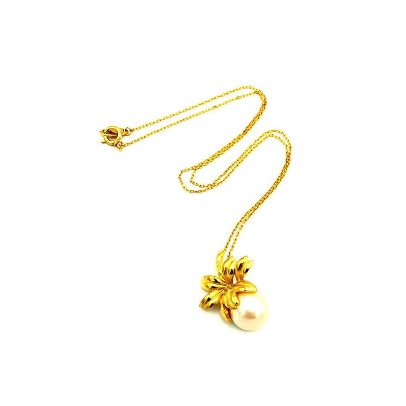 update alt-text with template Crown Trifari Gold Pearl Floral Vintage Pendant-Necklaces & Pendants-Trifari-[trending designer jewelry]-[trifari jewelry]-[Sustainable Fashion]