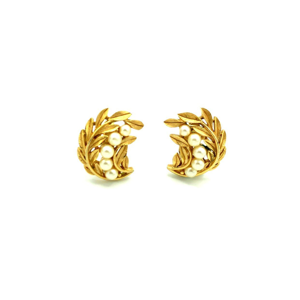 Gold Crown Trifari Pearl Leaf Vintage Earrings