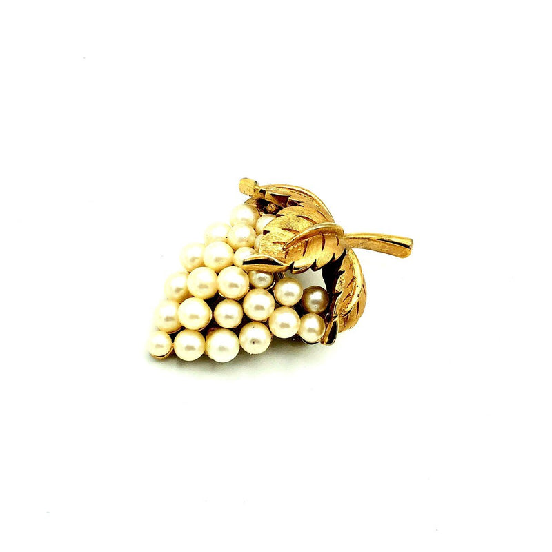 Vintage Gold Trifari Classic Grape Bunch Brooch-Sustainable Fashion with Vintage Style-Trending Designer Fashion-24 Wishes