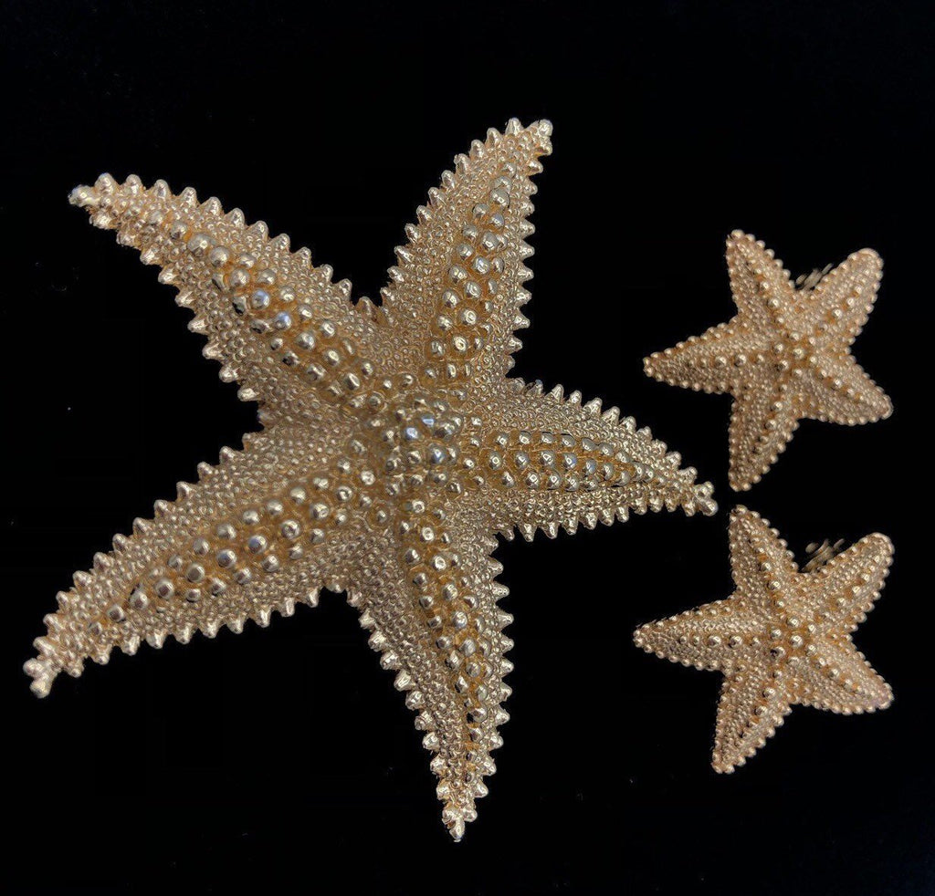 Monet Gold Starfish Vintage Jewelry Set