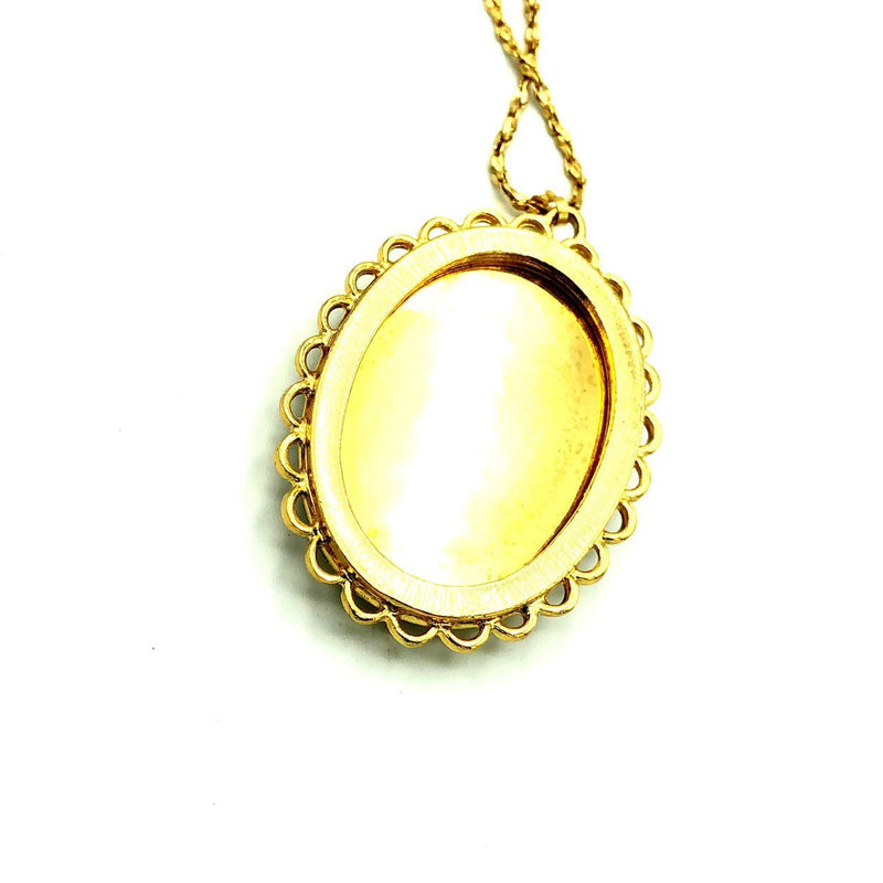 Whiting & Davis Boho Tree Cameo Vintage Gold Pendant-Necklaces & Pendants-24 Wishes