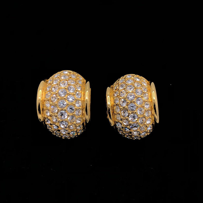 Swarovski Diamante Vintage Half Hoop Gold Earrings