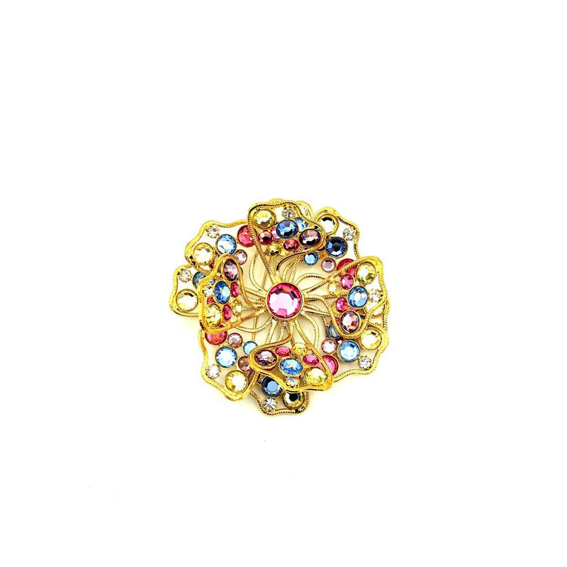 Kenneth Jay Lane Pastel Rhinestone Classic Gold Flower Brooch-Sustainable Fashion with Vintage Style-Trending Designer Fashion-24 Wishes