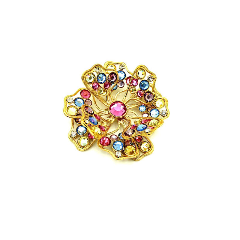 update alt-text with template Kenneth Jay Lane Pastel Rhinestone Classic Gold Flower Brooch-Brooches & Pins-Kenneth Jay Lane-[trending designer jewelry]-[kenneth jay lane KJL jewelry]-[Sustainable Fashion]