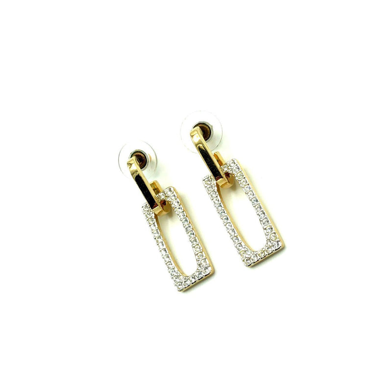 Swarovski Door Knocker Crystal Vintage Gold Earrings-Sustainable Fashion with Vintage Style-Trending Designer Fashion-24 Wishes
