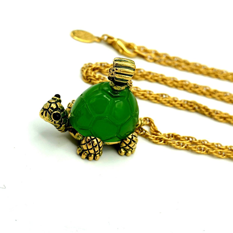 Joan Rivers Green Turtle Vintage Pendant-Sustainable Fashion with Vintage Style-Trending Designer Fashion-24 Wishes