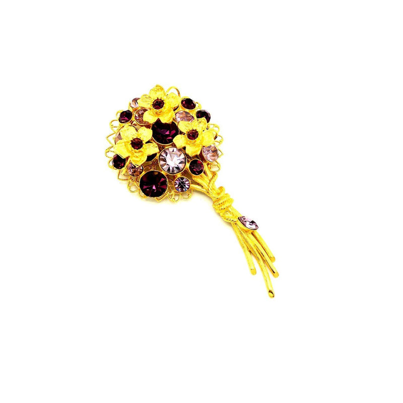 RJ Graziano Violet Purple Rhinestone Bouquet Brooch-Sustainable Fashion with Vintage Style-Trending Designer Fashion-24 Wishes