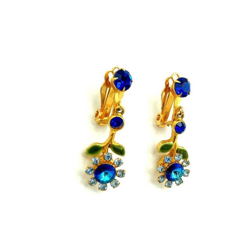 Vintage Blue Flower Rhinestone Dangle Earrings-Sustainable Fashion with Vintage Style-Trending Designer Fashion-24 Wishes