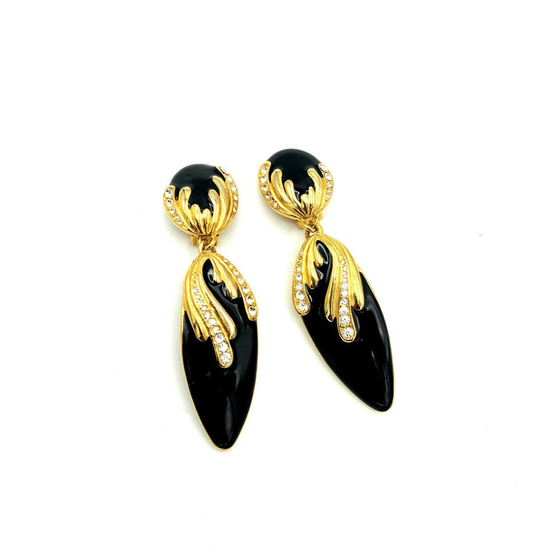 Vintage Long Dangle Black Enamel Rhinestone Earrings-Sustainable Fashion with Vintage Style-Trending Designer Fashion-24 Wishes