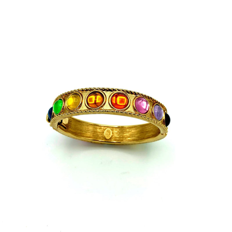 update alt-text with template Joan Rivers Rainbow Cabochon Vintage Hinged Bangle Bracelet-Bracelets-Joan Rivers-[trending designer jewelry]-[joan rivers jewelry]-[Sustainable Fashion]