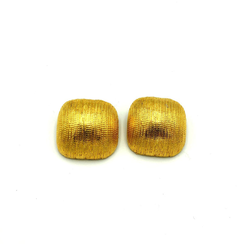 Vintage Gold Textured Chunky Classic Square Earrings-Sustainable Fashion with Vintage Style-Trending Designer Fashion-24 Wishes