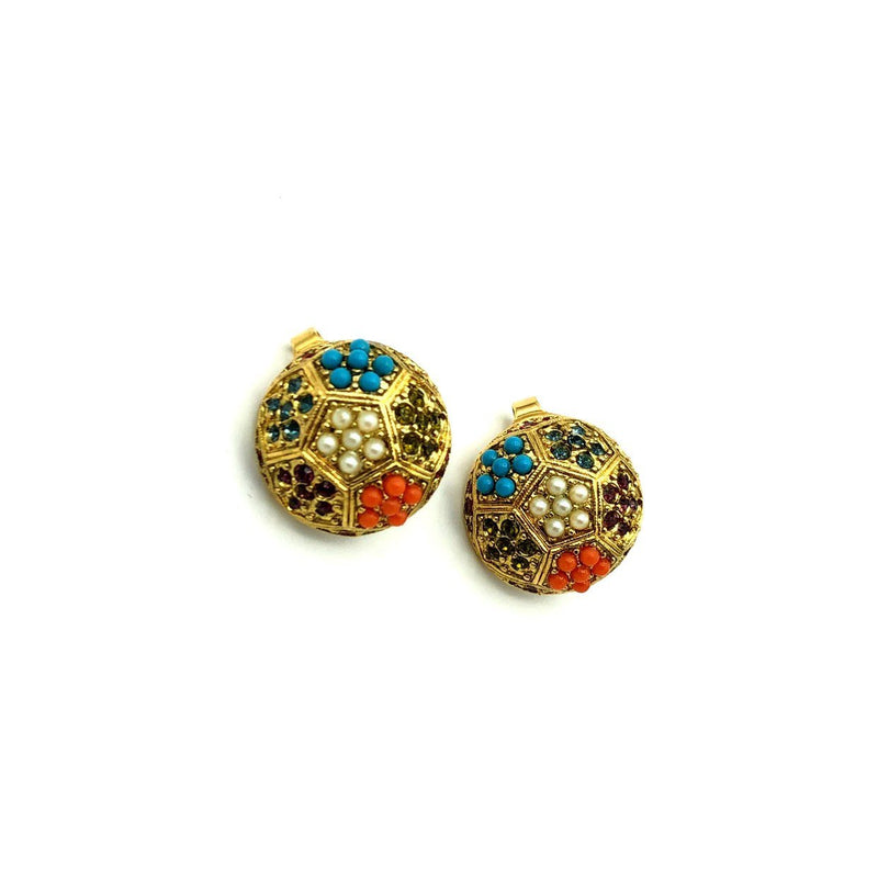 Vintage Gold Floral Pearl Button Earrings