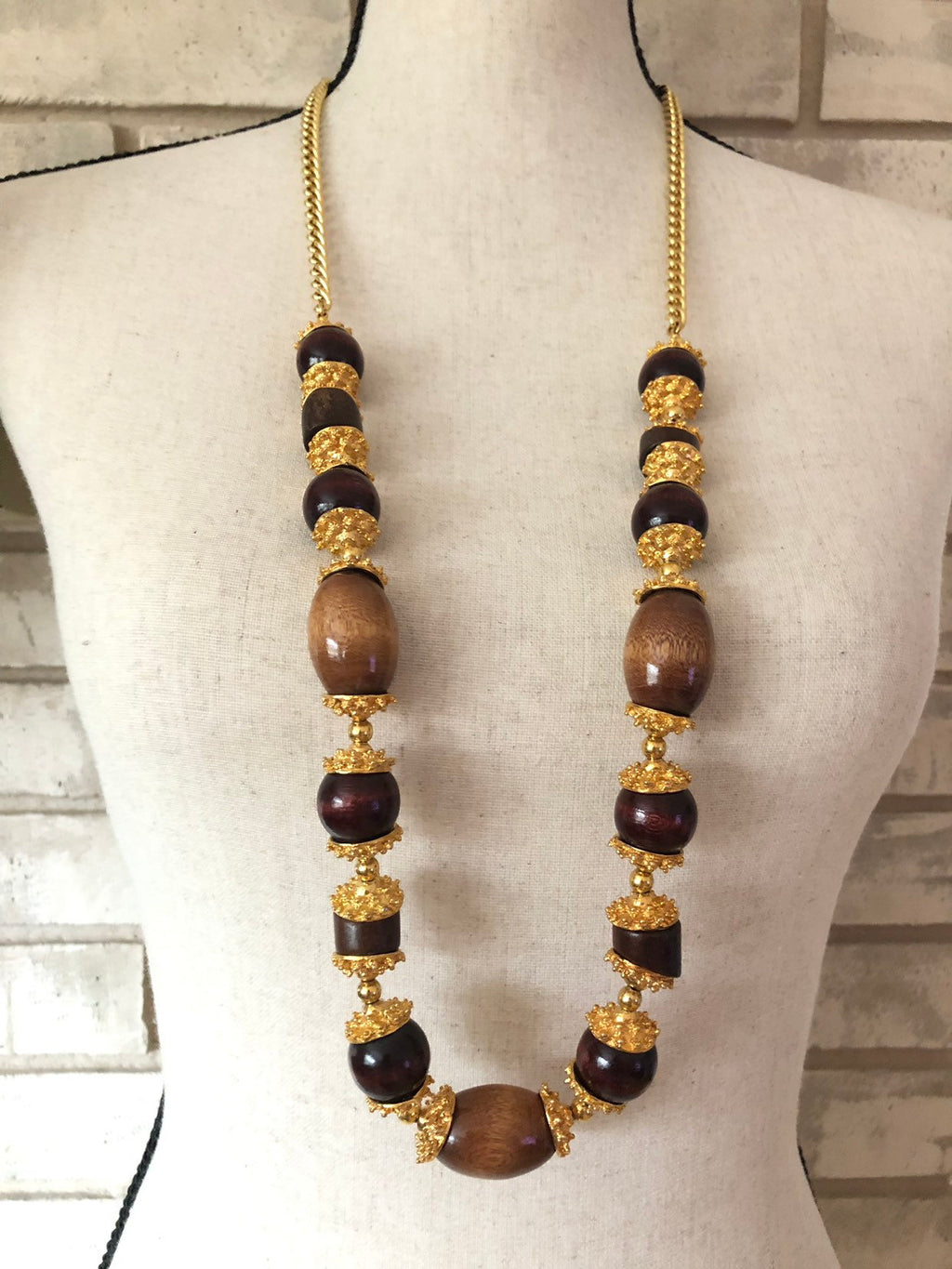 Kenneth Jay Lane Gold & Brown Wood Bead Statement Vintage Necklace