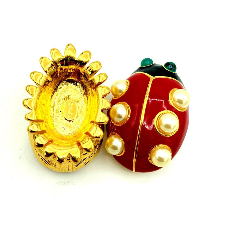 Kenneth Jay Lane Enamel Red Ladybug Vintage Brooch & Trinket Box-Sustainable Fashion with Vintage Style-Trending Designer Fashion-24 Wishes