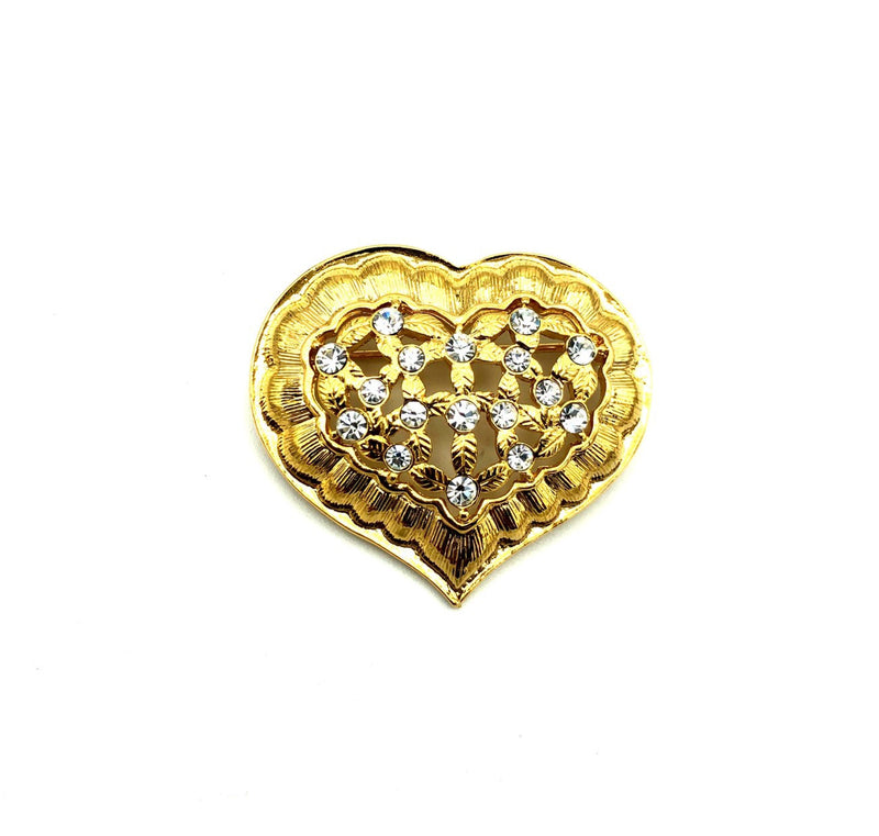 update alt-text with template Gold Classic Monet Rhinestone Heart Vintage Brooch-Brooches & Pins-Monet-[trending designer jewelry]-[monet jewelry]-[Sustainable Fashion]