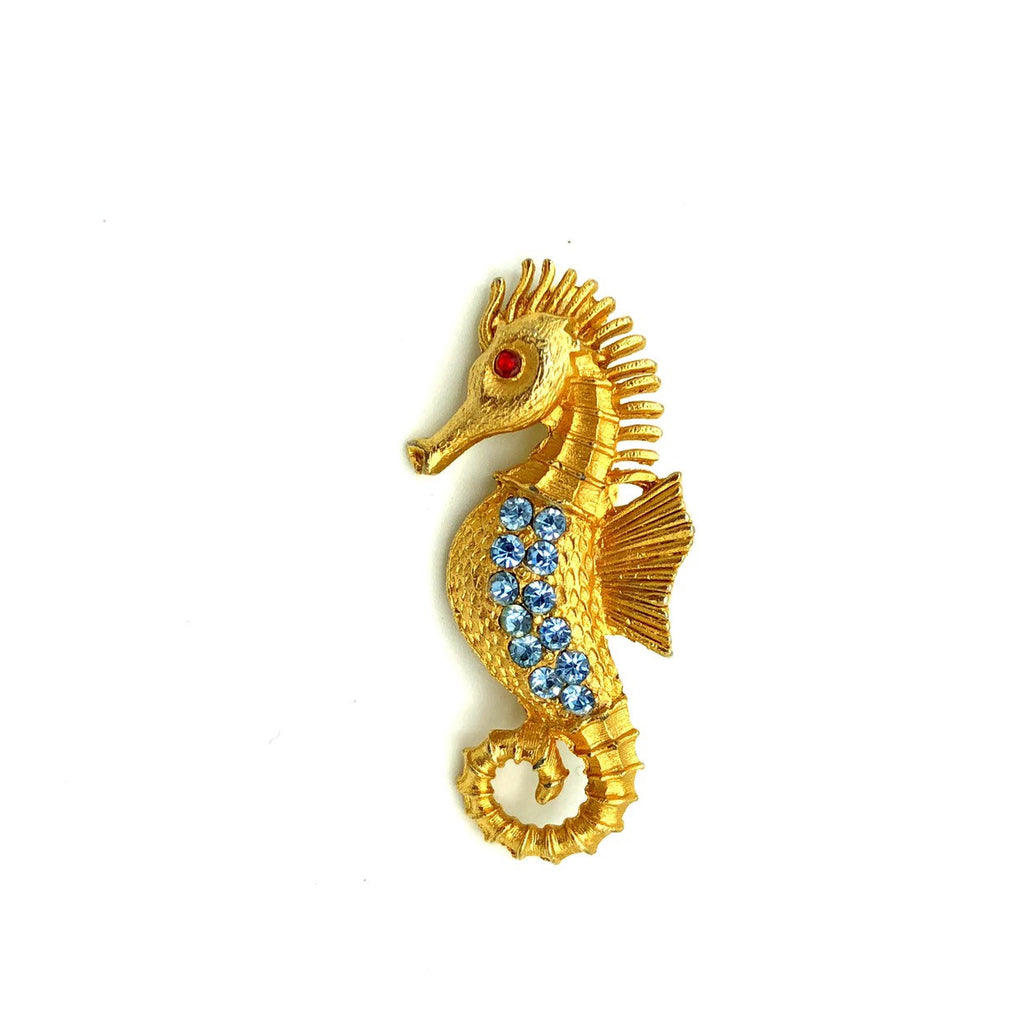 Vintage Blue Rhinestone Seahorse Brooch Pin-Sustainable Fashion with Vintage Style-Trending Designer Fashion-24 Wishes