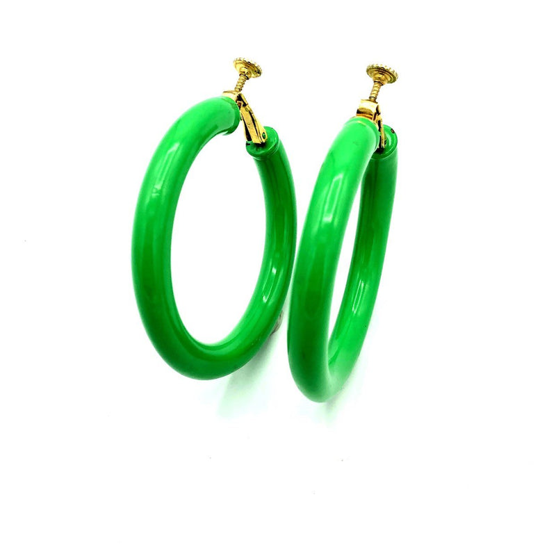 Trifari Large Green Hoop Vintage Clip-On Earrings-Earrings-24 Wishes