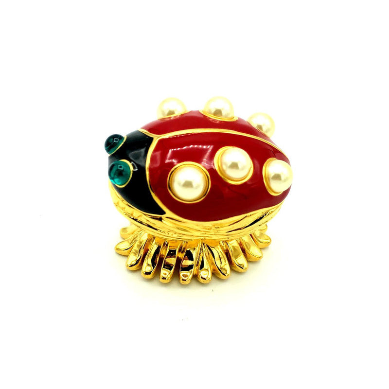 update alt-text with template Kenneth Jay Lane Enamel Red Ladybug Vintage Brooch & Trinket Box-Brooches & Pins-Kenneth Jay Lane-[trending designer jewelry]-[kenneth jay lane KJL jewelry]-[Sustainable Fashion]