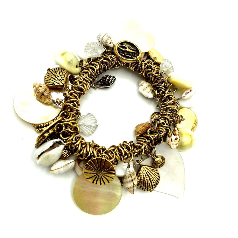 Joan Rivers Seashell Vintage Stretch Charm Bracelet