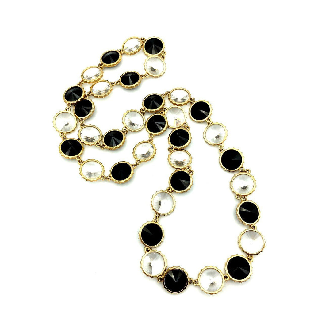 Vintage Black & White Chaton Faceted Rivoli Long Necklace