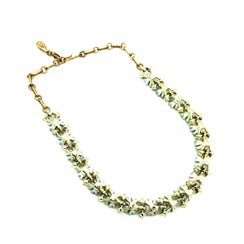 Vintage Lisner Green Enamel & Rhinestone Flower Necklace-Sustainable Fashion with Vintage Style-Trending Designer Fashion-24 Wishes