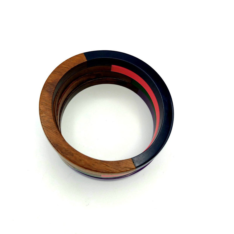 Bohemian Brown Wood & Lucite Vintage Bangle Bracelets