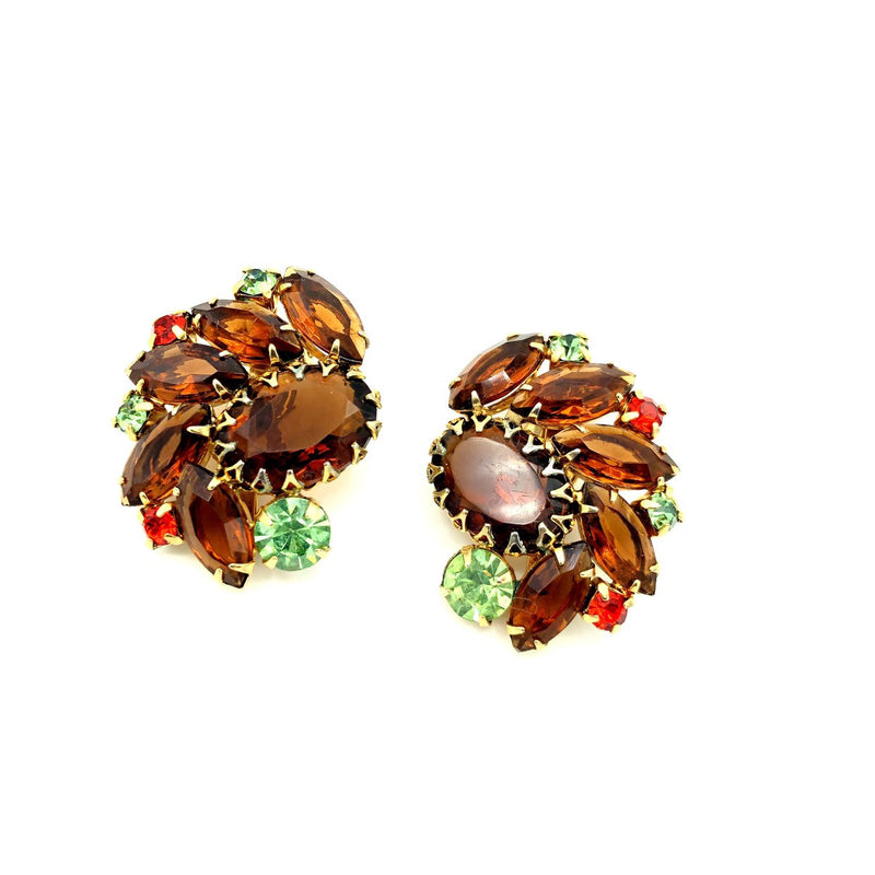Juliana Delizza and Elster Brown Topaz Statement Rhinestone Earrings