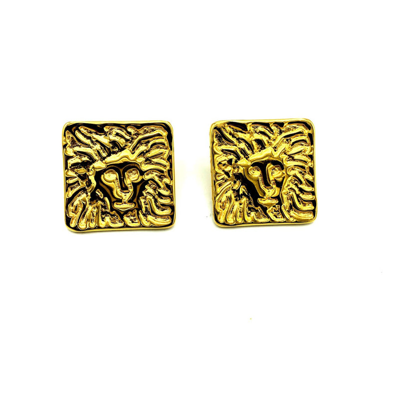 Anne Klein Gold Large Lion Logo Vintage Pierced Earrings-Sustainable Fashion with Vintage Style-Trending Designer Fashion-24 Wishes