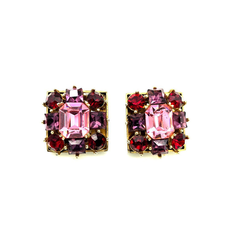 Vintage Pink & Red Rhinestone Square Earrings-Sustainable Fashion with Vintage Style-Trending Designer Fashion-24 Wishes